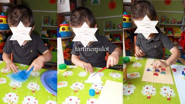 réalisation de cartes par Timéo pour ses mamies